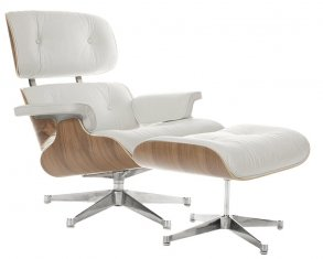 Кресло Eames Style Lounge Chair & Ottoman White/Wood